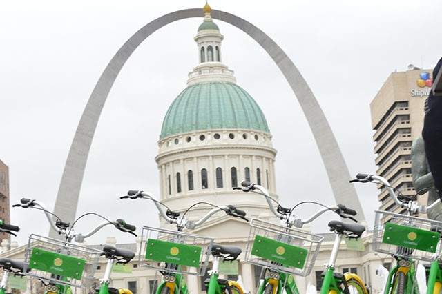 St. Louis' new bike-sharing program kicked off today. - MEGAN ANTHONY