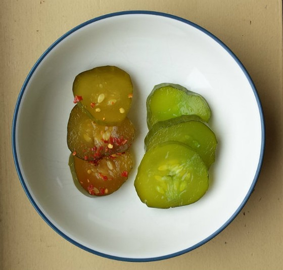 """You can pimp your pickles out so they're """"Spicy-n-Sweet,"""" right, or flavored with ... """"Green Apple."""" Yes, really. - JESSICA LUSSENHOP"""