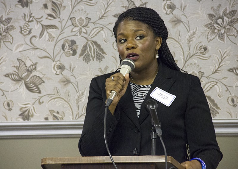 Cori Bush, shown at a 2016 candidate forum, is seeing new interest in her 2018 race. - DANNY WICENTOWSKI