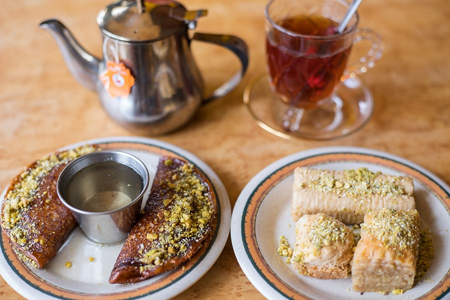 Desserts include qatif with syrup and pistachios and baklava with pistachios and rosewater syrup. - MABEL SUEN