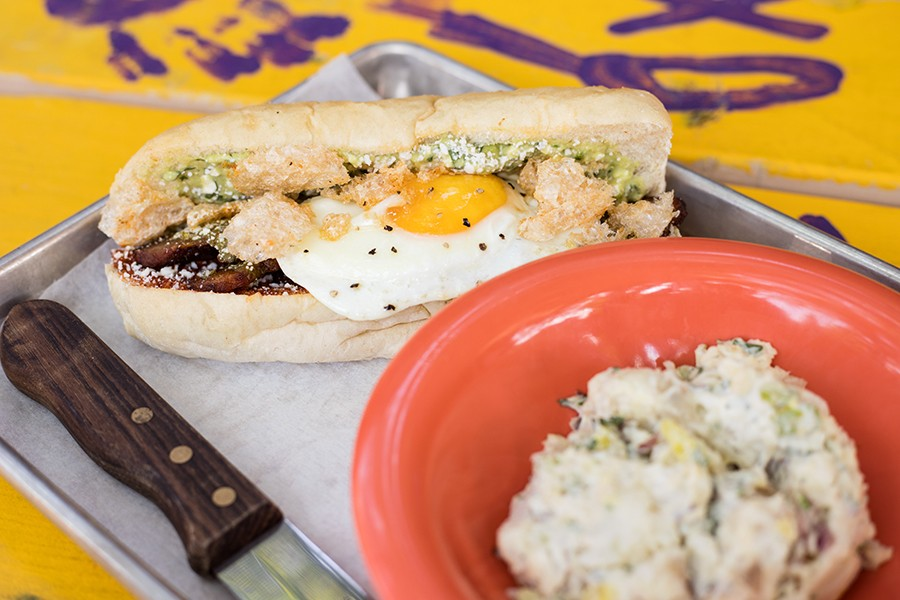 """The Burley Wich"""" features adobo pork belly and cotija cheese on brioche. - MABEL SUEN"""