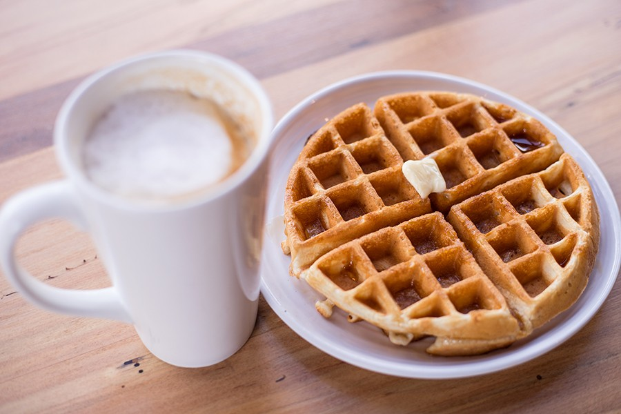 Morning options include a waffle and latte. - MABEL SUEN