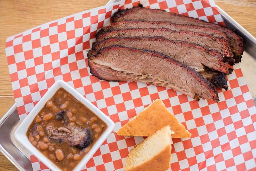 Smoked brisket with pit beans and cornbread. - MABEL SUEN