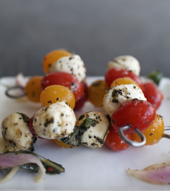 Caprese Pintxos - grape tomatoes, fresh basil, balsamic reduction and house made fresh mozzarella. Check out  more photos of Cafe Pintxos by Jennifer Silverberg.