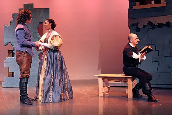Casey Boland, Andrea Purnell and Todd Gillenardo in Cyrano de Bergerac.
