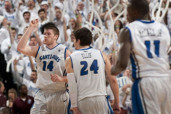 Above: Billikens Brian Conklin and Cody Ellis celebrate during SLU's game against Xavier at Chaifetz Arena.