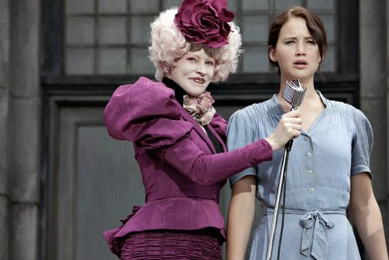 Panem Idol: Elizabeth Banks and Jennifer Lawrence in The Hunger Games.