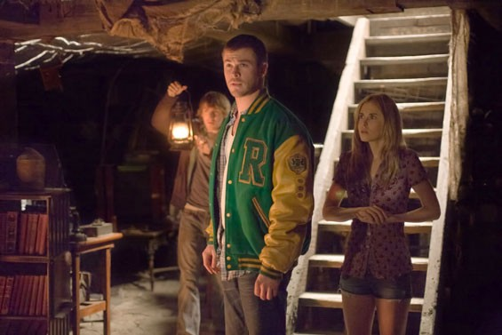 Fran Kranz, Chris Hemsworth and Anna Hutchison hunker down in The Cabin in the Woods.