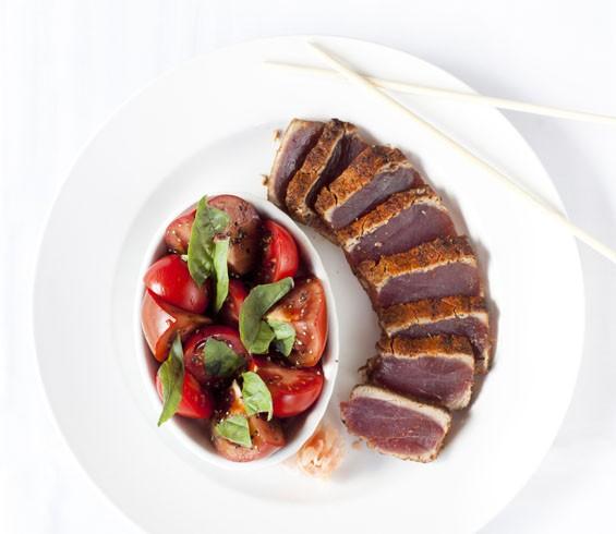 BrickTop's rosy seared ahi tuna steak.
