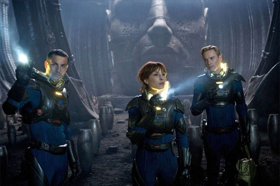 Logan Marshall-Green, Noomi Rapace and Michael Fassbender in Prometheus