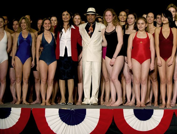 Famed yoga instructor Bikram Choudhury and his wife Rajashree Choudhury with some of the competitors at the 2010 International Yoga Asana Championships in Los Angeles. He is now suing his former student and right-hand man, Greg Gumucio, for copyright infringement.