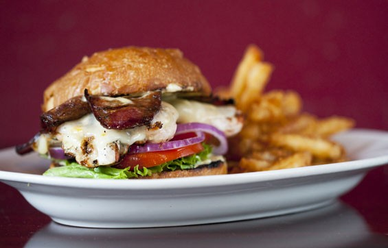 The Chicken and Andouille Club sandwich - grilled chicken, adnouille, fontina  and sweet corn aioli.