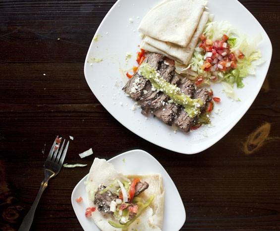 """La Cantina's """"Fajita de Bistec"""" brings charbroiled steak, spicy avocado sauce and pico de gallo."""