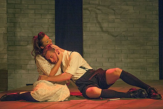 Melissa Southmayd and Zach Wachter in Stray Dog Theatre's Spring Awakening.