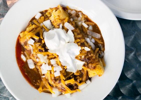 "Joe's ""Chili Mac Suprema"" with cheese, onions, special sauce and sour cream. Slideshow: Inside Joe's Chili Bowl"