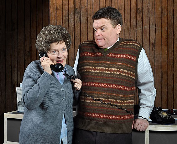 Carol Schultz and John Scherer in the Rep's The Foreigner.