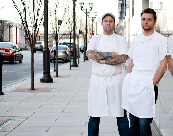 Pastaria's chef/co-owner Gerard Craft and executive chef/co-owner Adam Altnether in front of their Clayton restaurant. Slideshow: Pastaria in Clayton Photos