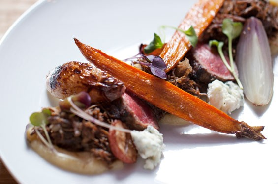 "Course three — ""Cow"" —; is beef prepared two ways with parsnip miso, root veggies, pearl onions and Maytag blue cheese. See more photos from Little Country Gentleman."