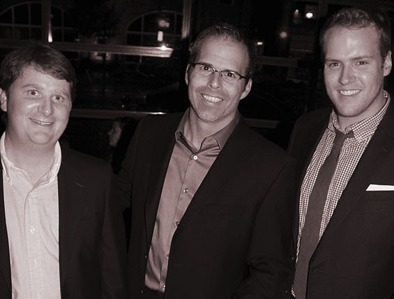 Matt Mathison (center) at the party celebrating the launch of the now-defunct Avid flanked by editor Dan Michel (right) and investor Richard Riney.