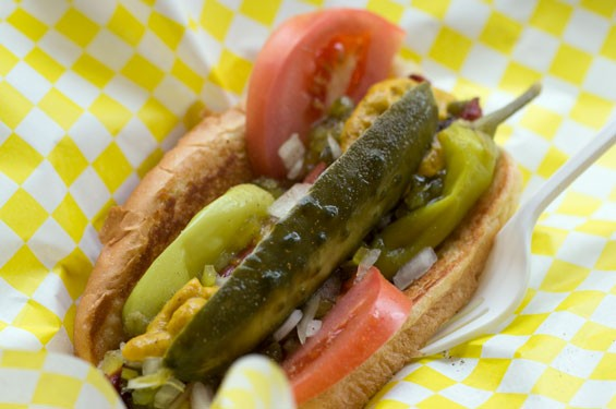 "The ""Chicago"" dog is a Nathan's hot dog dressed with onions, relish, mustard, peppers, a pickle spear, tomatoes and celery salt. Slideshow: Inside Chubbies in the Delmar Loop"