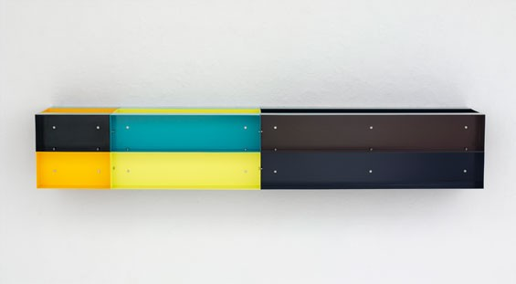 Donald Judd, Untitled, 1985, enameled aluminum, 30 x 180 x 30 cm,  Allison and Warren Kanders, © Judd Foundation. Licensed by VAGA, New York, NY.