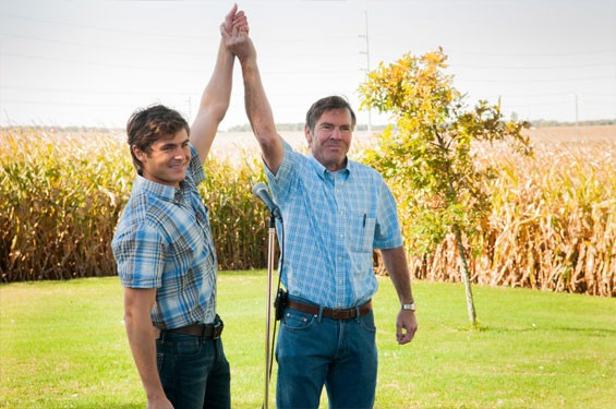 Zac Efron as Dean and Dennis Quaid as Henry in At Any Price.