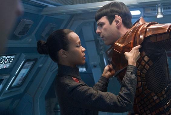 Zachary Quinto and Zoe Saldana in Star Trek Into Darkness.