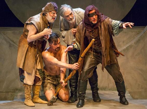 Left to right-Bobby Miller(Fool)*, Justin Ivan Brown(Edgar), John Contini(Lear)*, Eric White(Kent), *Member Actors' Equity Assoc.