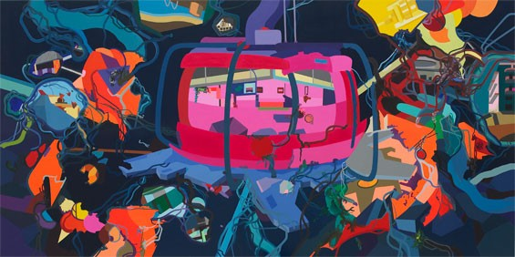 "Franz Ackermann, Untitled (yet), 2008-9. Oil on canvas, 109 5/8 x 216 1/8"". Mildred Lane Kemper Art Museum, Washington University in St. Louis. University purchase with funds from the David Woods Kemper Memorial Foundation, 2011."