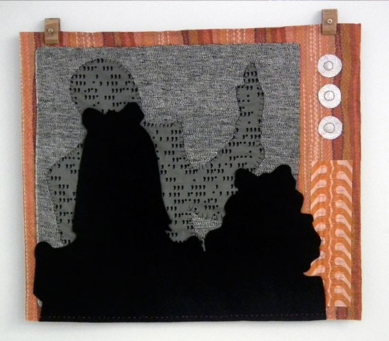 "Megan Sue Collins, OJ Simpson Trials, 2013, 20"" x 22"", hand-stitched quilt."