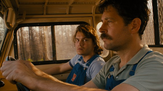 Paul Rudd (driving) and Emile Hirsch in Prince Avalanche.