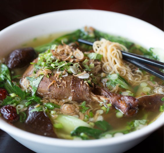 Mi vit tiem, the five-herbs duck soup, is slow cooked, served over egg noodles and baby bok choy. See also: Inside Mi Linh in Rock Hill