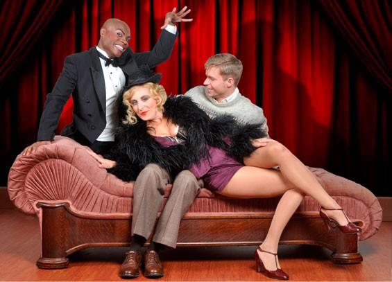 Hunter Ryan Herdlicka, Nathan Lee Graham and Liz Pearce star in Cabaret at the Repertory Theatre of St. Louis.