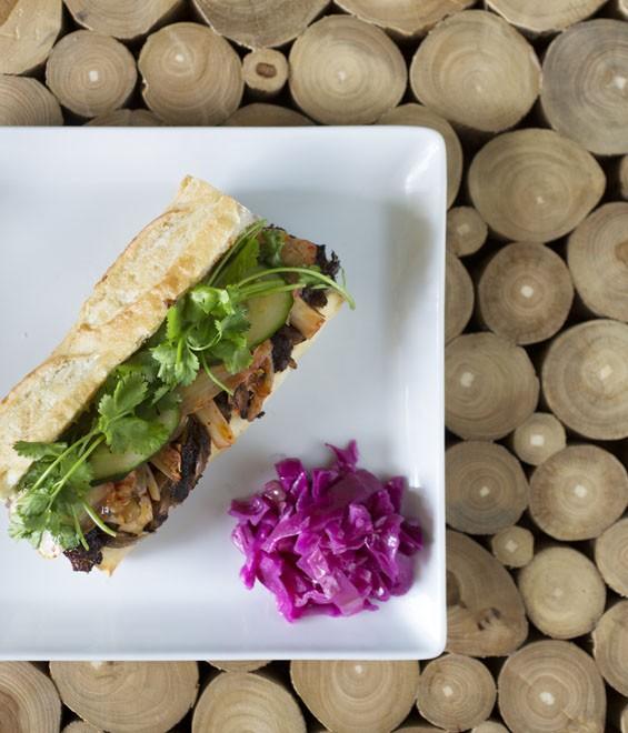 Bulgogi banh mi with kimchi. See also: Photos From Inside Hiro Asian Kitchen on Washington Ave.