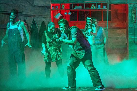 Zachary Stefaniak, Anna Skidis, C.E. Fifer, Angela Bubash, Paul Cereghino, Eileen Engel and Jeff Loeffler in Stray Dog's Evil Dead.