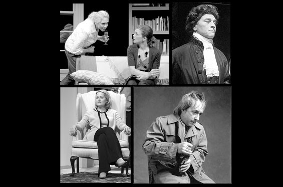 Clockwise from left: Nancy Lewis and Meghan Maguire in Collected Stories; Kevin Beyer in Amadeus; Joe Hanrahan in St. Nicholas; Lavonne Byers in A Delicate Balance.