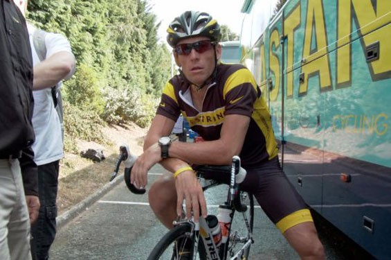 Still of Lance Armstrong in The Armstrong Lie.