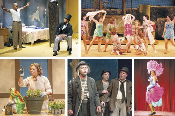 Clockwise from left: Chauncy Thomas and Reginald Pierre in Top Dog/Underdog; Laura Michelle Kelly in South Pacific; Antonio Rodriguez in Café Chanson; Terry Meddows and Gary Wayne Barker in Waiting for Godot; Elizabeth Ann Townsend in Talking Heads.