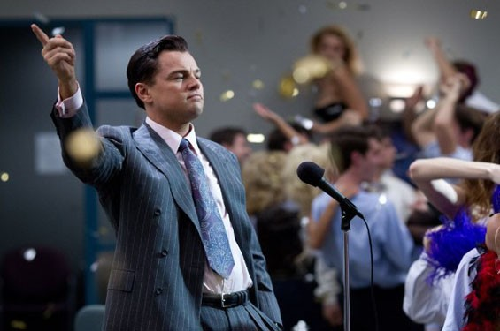 Still of Leonardo DiCaprio in The Wolf of Wall Street.