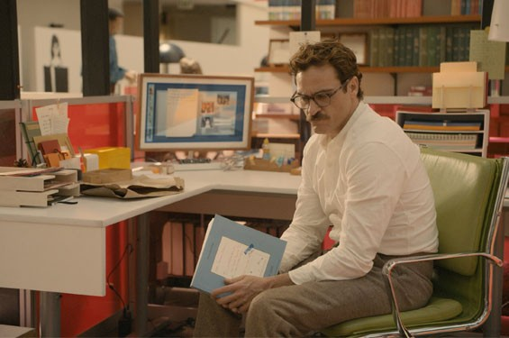 Joaquin Phoenix falls hard for Scarlett Johansson's voice in Her.