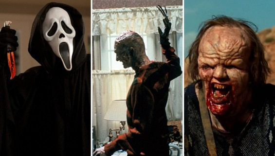 From left: Scream (1996), Robert Englund as Freddy Krueger A Nightmare on Elm Street (1984), and The Hills Have Eyes (2006).