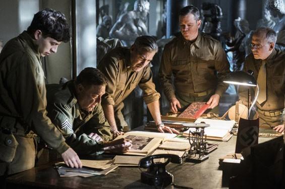 George Clooney, Matt Damon, John Goodman, Bob Balaban and Sam Epstein in The Monuments Men.