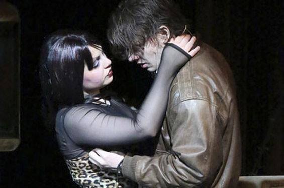 Anna Skidis as Mimi and Evan Fornachon as Roger in New Line Theatre's Rent.