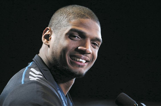 Mizzou player Michael Sam at the NFL combine in Indianapolis.