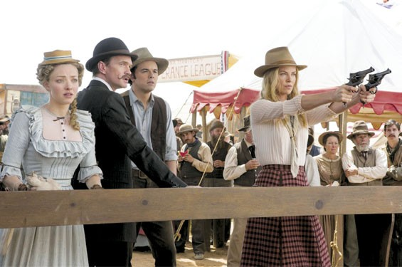 Nice shootin': Charlize Theron, Neil Patrick Harris, Seth MacFarlane and Amanda Seyfried in A Million Ways to Die in the West.