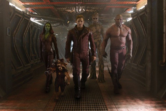 Vin Diesel, Bradley Cooper, Chris Pratt, Zoe Saldana and Dave Bautista in Guardians of the Galaxy.