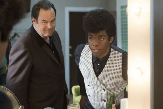Dan Aykroyd and James Brown Chadwick Boseman in Get on Up.