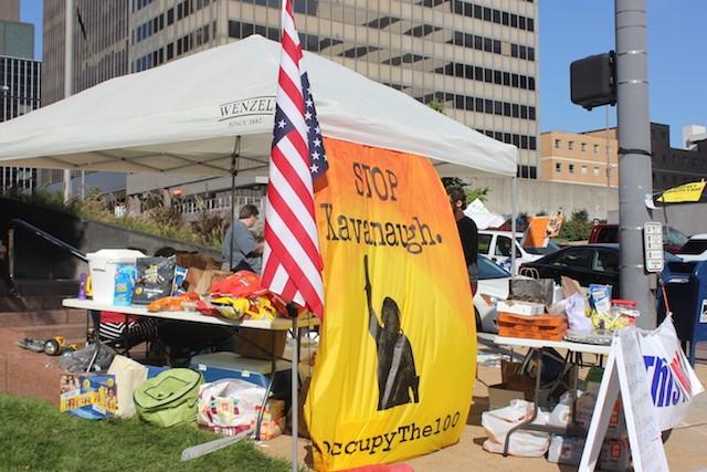 An encampment outside Senator Roy Blunt's aims to sway his vote on Brett Kavanaugh. - DUSTIN STEINHOFF