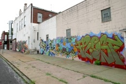 New mural work on west wall of 3124 Cherokee St. - PHOTO BY NICHOLAS PHILLIPS