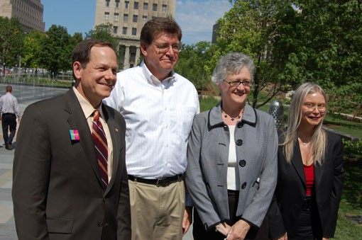 Left to right, St. Louis Mayor Francis Slay, park architect Warren Byrd, St. Louis Alderwoman Phyllis Young and Barb Geisman, executive director of development in Slay's administration. - PHOTO: NICK LUCCHESI